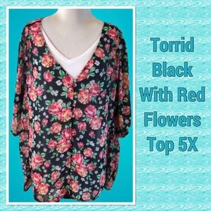 Torrid Black and Pink Floral Top 5X